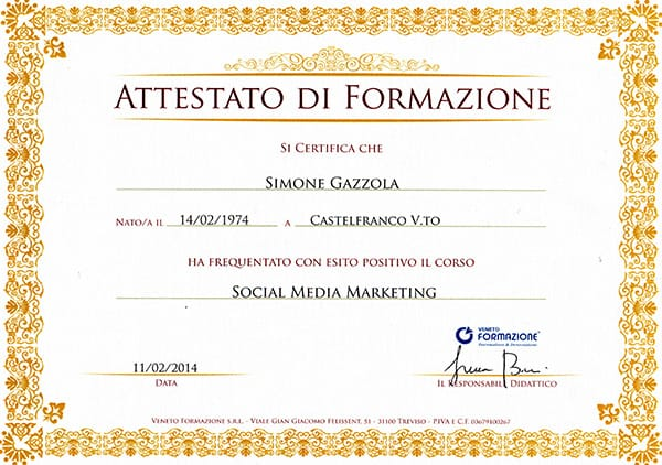 Attestato social media marketing Specialist Simone Gazzola