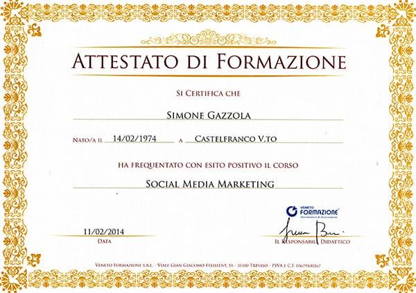 Attestato social media marketing Specialist Simone Gazzola
