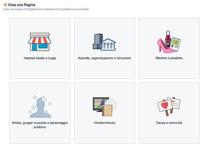 Creare la nuova pagina facebook scegliendo la tipologia