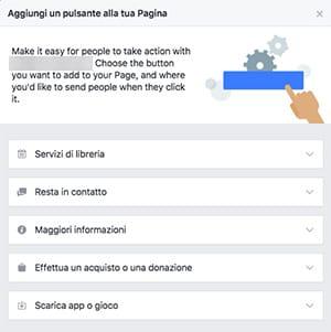 Tipologie pulsanti pagina FB