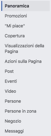 menù facebook insights