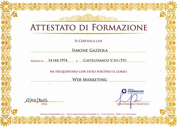 Simone Gazzola attestato web marketing