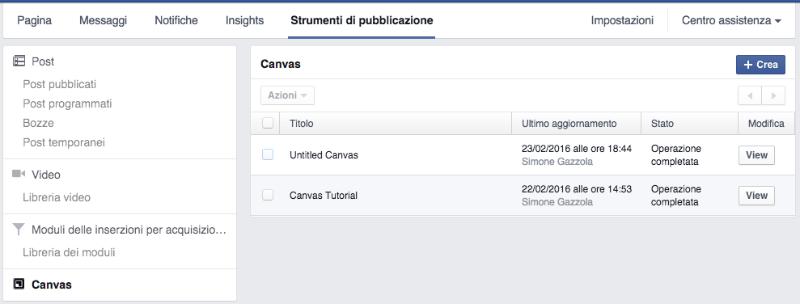 creazione facebook canvas