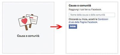 dati pagina facebook causa comunità