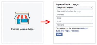 dati pagina facebook impresa locale