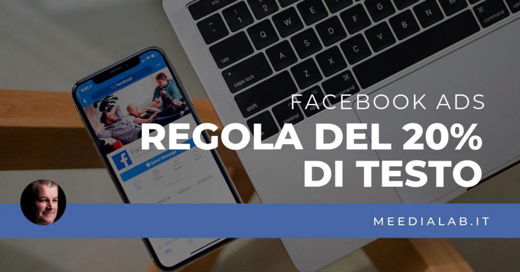 regola 20% testo Facebook ADS