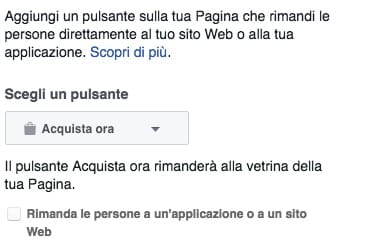 Pulsante acquista vetrina Facebook
