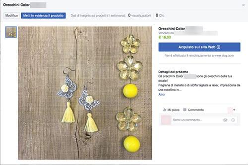 scheda prodotto vetrina facebook
