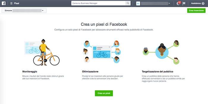 Creare pixel facebook