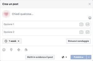 realizzazione sondaggio facebook